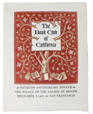 The BOOK CLUB Of CALIFORNIA.; Fiftieth Anniversary Dinner - The Palace of the Legion of Honor -...
