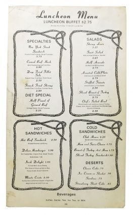 HOTEL EL RANCHO.; Luncheon Menu.