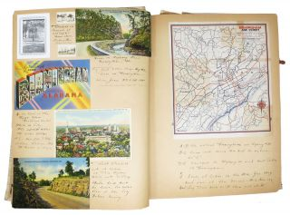 SCRAPBOOK: A ROAD TRIP THROUGH The SOUTH - 1941 [with] TRIP To BONHAM LAKE And Other North Texas Points [with] ARCHIVE Of GREETING CARDS, Ca 1940 - 1941.