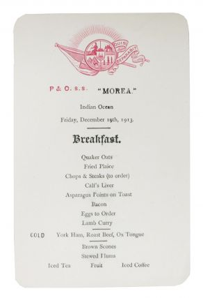 "P & O. s.s. ""MOREA"".; Breakfast. Ocean Linear Menu"