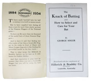 The KNACK Of BATTING And How to Select and Care for Your Bat.; Distributed with the Compliments of Hillerich & Bradsby Co. Incorporated