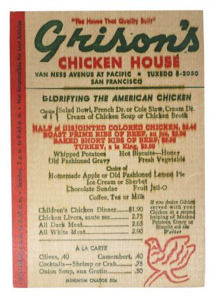 "GRISON'S CHICKEN HOUSE.; ""The House That Quality Built"" Restaurant Menu - San Francisco"