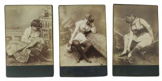 RISQUE CABINET CARDS Of RUBENESQUE WOMEN In LINGERIE. Set of 3. Erotica
