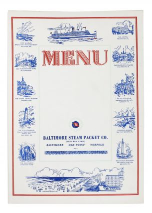 MENU. BALTIMORE STEAM PACKET CO.; [Old Bay Lines]. Menu - Baltimore
