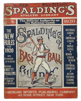 SPALDING'S OFFICIAL BASE BALL GUIDE. Forty-fourth Year. 1920.; Spalding's Athletic Library. ...