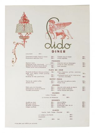 LIDO - DINER. French Restaurant Menu