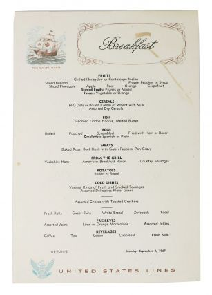 BREAKFAST. The SANTA MARIA.; United States Lines. Cruise Liner Menu