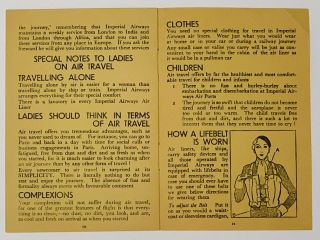 NOTES For YOUR COMFORT & CONVENIENCE When Travelling by Air in Europe.; Issued by Imperial Airways, Airway Terminus, Victoria Station, S.W.1