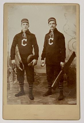 CABINET CARD ALBUMEN PHOTOGRAPH Of TWO MEN In BASEBALL UNIFORMS, Holding Baseball Equipment. 19th...