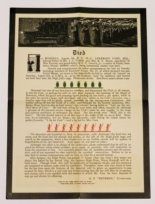 EVENT BROADSIDE.; Died, in Bohemia, August 5th, B. C. 38-C. C. Ankering Care, Esq., beloved...