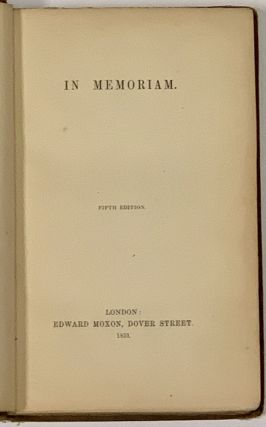 In MEMORIAM. Alfred Lord Tennyson, 1809 - 1892