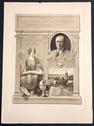 DINNER GIVEN To Dr. LIVINGSTON FARRAND. President of Cornell University.; By the Lotos Club New...