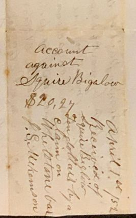 ACCOUNT AGAINST SQUIRE BIGALOW. $20.27. February 1851. Logtown.