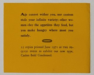 CASLON BOLD CONDENSED. Printer's Specimen Sheet, John - Pressman. Shakespeare Ruyle, William -...