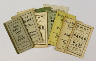 BLAKE MOFFITT & TOWNE. Paper Dealers. Lot of 11 Price Lists, 1913 - 1931 [9 pre-1919]. Trade...