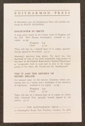ENITHARMON PRESS. Publisher Advertising Leaflet, Hugo - Featured Author Manning