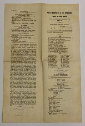 CENTENNIAL CELEBRATION Of The EVACUATION Of NEW YORK CITY, Monday, November 26th, 1883, With an Historical Outline and Order of Procession.; Published Under the Direction of the Committee of Arrangements. [Accompanied by]. OFFICIAL PROGRAMME Of The PROCESSION. Issued by John Brette, Under the Direction of the Evacuation Committee.