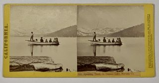 CALIFORNIA-- 858. Spearing Trout, on Donner Lake, Nevada Co. California Stereoview, Thomas ....