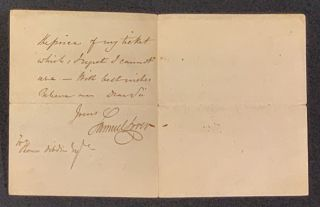 AUTOGRAPH NOTE, SIGNED (ANs). Monday, March 23 / 40. Samuel . Dibdin Lover, Thomas - Recipient,...