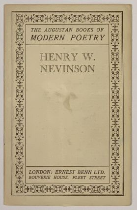 HENRY W. NEVINSON. The Augustan Books of Poetry. C. M. - Grieve, MacDiarmid, Edwin Muir, Lewis -...