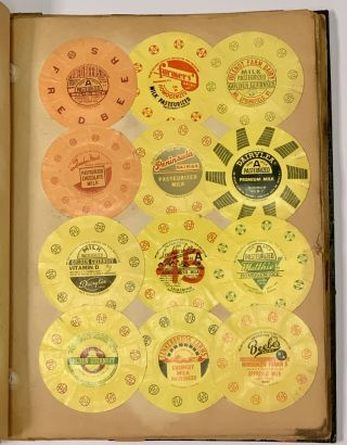 SCRAPBOOK Of MILK & CREAM BOTTLE CAPS / TOPS. 20th C. U. S. Dairy Industry History