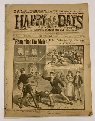 """REMEMBER The MAINE:"" Or, A Yankee Boy's Fight Against Spain. [as published in] HAPPY DAYS. A..."