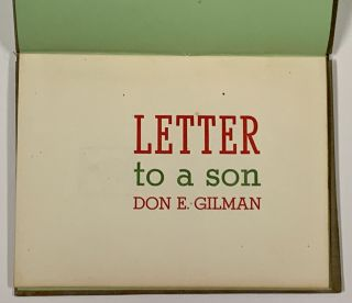 LETTER To A SON. Don E. Gilman