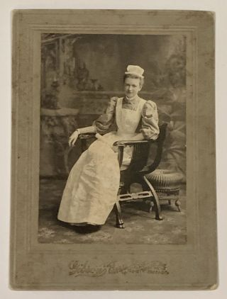 CABINET CARD PHOTOGRAPH Of Ms Mench in her Nurse's Uniform. Ethel Mench, dele. 1875 - 1917
