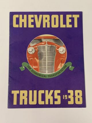 CHEVROLET TRUCKS 1938 For Economical Transportation. Automotive Promotional Booklet