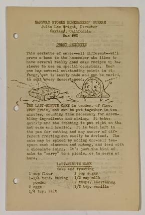"""LOT Of 54 DIVERS """"KITCHENEERING"""" RECIPE SHEETS / PAMPHLETS.; Safeway Stores Homemakers' Bureau"""