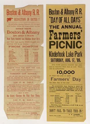 """LOT Of 10 BOSTON & ALBANY RAILROAD """"NOTICE To PASSENGERS"""" BROADSIDES / POSTERS, 1889 - 1890."""
