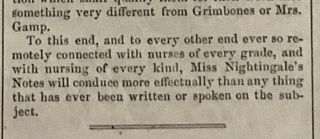 """""""Miss Nightingale on Nursing."""" [as published in] Harper's Weekly. Journal of Civilization. Vol. IV. No. 172. New York, Saturday, April 14, 1860."""